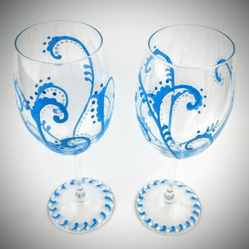 Blue Swirl Wine Glasses, Hand Painted, Elegant, High Quality Glass, set of two stemmed wine glasses, painted wine glasses, gift for her