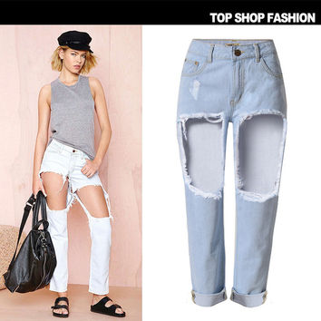 Ripped Holes Women's Fashion Jeans [6365923908]