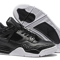 Mens Nike Air Jordan 4 Black White BasketBall Shoes