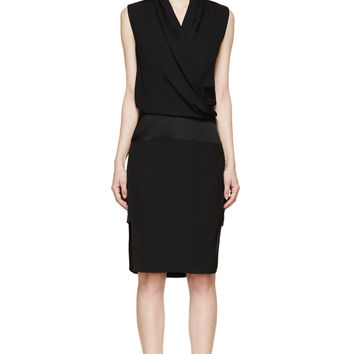 Helmut Lang Black Draped Contra Dress