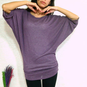 Sexy Dark Purple Women Blouse - Oversized Tee / Batwing Tee / Ladies Poncho T shirt - Casual Women Comfy Tee / large medium small