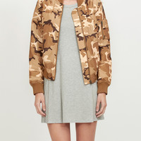 LE3NO Womens Zip Up Camo Print Bomber Jacket with Pockets