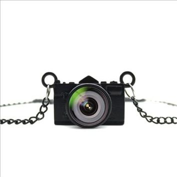 Awesome Photo Lens Black Vintage Look Camera Charm Necklace