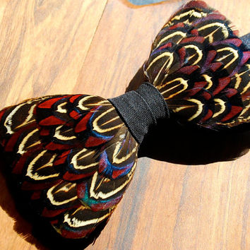 "Feather Bow Tie Pheasant ""The GameKeeper"" Purple Blue Almond in England on 100% Barathea Silk Bow Tie & Genuine Feathers"
