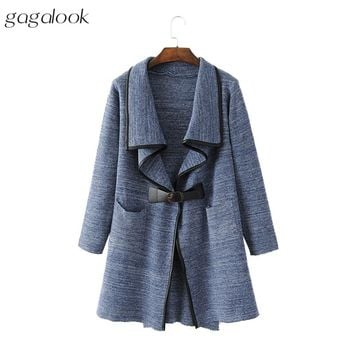 Long Cardigan Women PU Leather Trim Lapel Knitted Cardigan with Belt Buckle Fashion Sweater