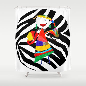 Rainbow Zebra Fairy #society6 Shower Curtain by Azima