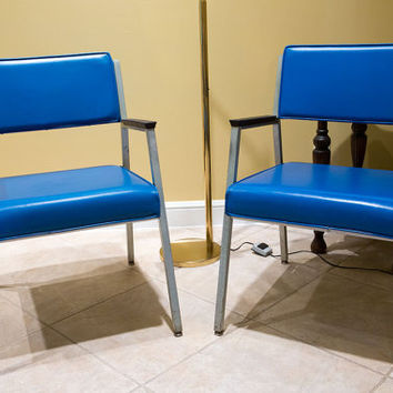 Great Pair of Shaw Walker Blue Industrial Chairs from 1971