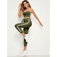 Contrast Trim Crop Cami Top With Tape Side Drawstring Waist Pants