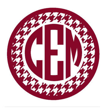 Houndstooth Monogram Decal, Monogram Car Decal, Wall Decal, Custom Vinyl Decal, Crimson Houndstooth Decal