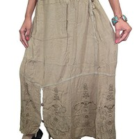 Mogul Women's Vintage Maxi Skirt Embroidered Peasant Gypsy Long Skirt