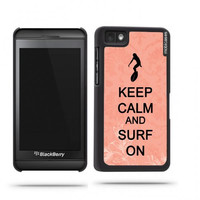 Keep Calm And Surf On Coral Floral Blackberry Z10 Case - For Blackberry Z10