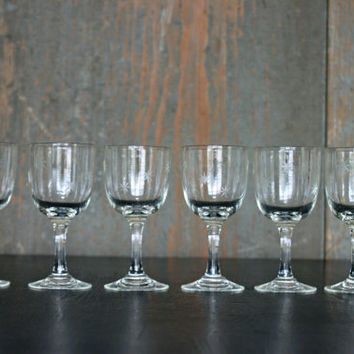 vintage etched atomic wine glasses // mid century 'starburst' pattern // antique stemware barware // set of 6