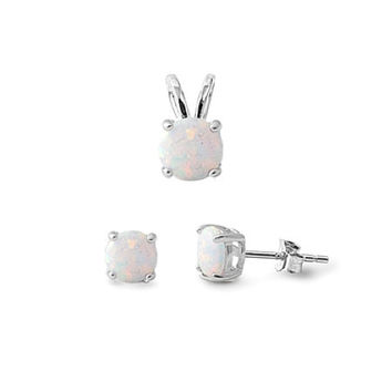Sterling Silver Round White Opal Stud Earrings & Pendant Set