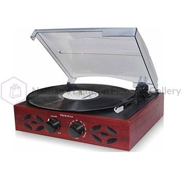 TechPlay 3 Speed Wooden Retro Classic Turntable with FM Radio, Headphone Jack and Built in Speakers - Wood