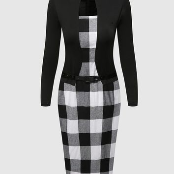 Streetstyle  Casual Elegant Plaid Assorted Color Square Neck Fake Two-piece Bodycon Dress