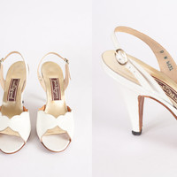 1970s Peep Toe Heels / Vintage 70s High Heel Shoes / White Leather Pumps / Slingback Shoes / Open Toe Shoes / High Heel Sandals