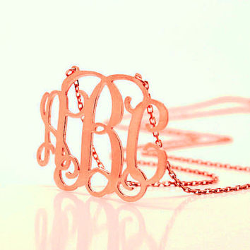 "1"" inch Monogram Necklace - 925 Sterling Silver - Rose gold plated"