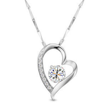 Amethyst or CZ Heart down 925 Sterling Silver Necklace