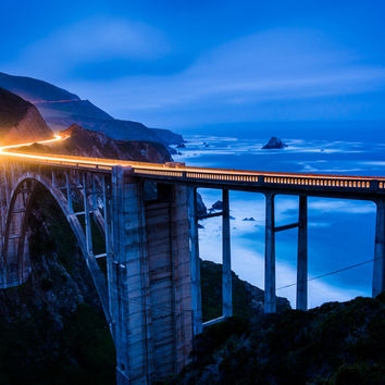 The Bixby Creek Bridge at night, in Big Sur, California.