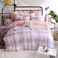 Elegant Pink And White Long Plaid Pattern Polyester Soft  Bedding Set 4pc/ 3pc Sheets Bedlinen Double Single Queen King Size
