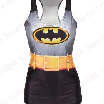 Running Vests Jogging Batman Yoga Shirts Running Singlet Black Vest Women Sexy Camisole Gym Sports Tank Tops Digital Print Sleeveless Fitness KO_11_1