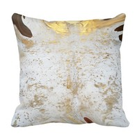 Spotted Gold and White Cowhide Leather Print