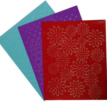 2 Pocket Laminated Folder w- Glitter Prints - CASE OF 48