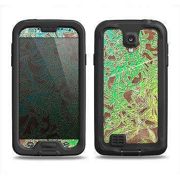 The Bright Green Floral Laced Samsung Galaxy S4 LifeProof Nuud Case Skin Set