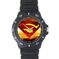 Super Hero Logos Superman Logo Custom Black Plastic High Quality Watch = 1946190980