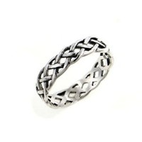 Narrow 4mm Neverending Celtic Knot Sterling Silver Pinky Ring Size 4(Sizes 3,4,5,6,7,8,9,10,11,12,13,14,15,16)