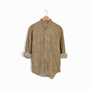 Vintage 90s Floral Corduroy Boyfriend Shirt in Sage by Banana Republic - men's medium