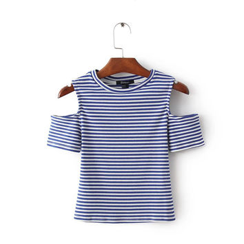 Summer Slim Round-neck Stripes Short Sleeve Women's Fashion T-shirts [6332320708]