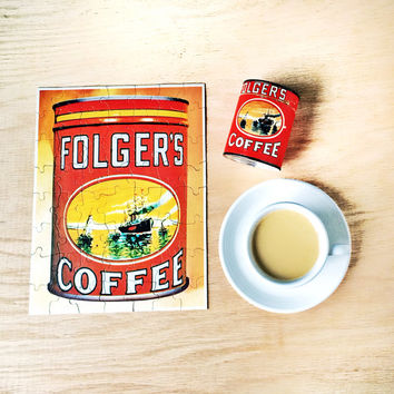 Folger's Coffee Puzzle in Can Vintage Jigsaw