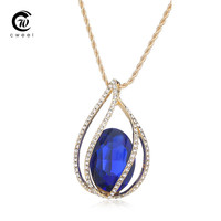 CWEEL Trendy Necklaces Pendants For Women Man Crystal 18K Gold Plated Long Jewelry African Beads Water Drop Wedding Accessories