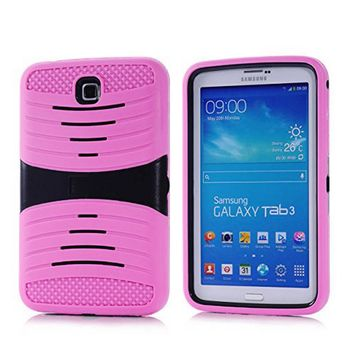 Samsung Galaxy Tab 3 7.0 / P3200 Hybrid Silicone Case Cover Stand Light Pink
