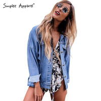Simplee Apparel Fashion bat sleeved denim jacket coat Casual loose pocket jacket women 2016 Vintage street style jacket outwear