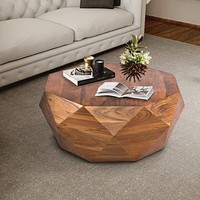 Diamond Shape Acacia Wood Coffee Table With Smooth Top, Dark Brown
