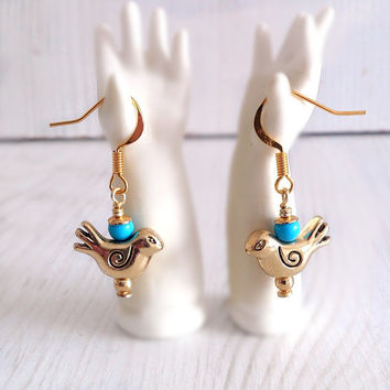 Gold bird earrings, dainty earrings, whimsical earrings, bird dangle earrings, turquoise bead, wedding jewelry, delicate earrings