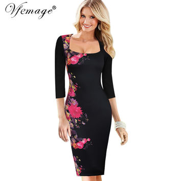 Vfemage Womens Sexy Elegant Vintage Flower Floral Print Slim Tunic Casual Party Evening Pencil Sheath Bodycon Dress 4031