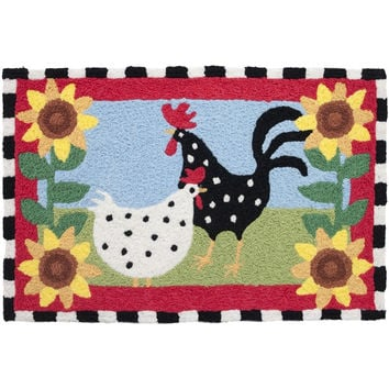 Jellybean Area Accent Rug Funky Chickens