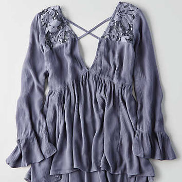 AEO Lace Yoke Tunic , Blue