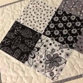 Black, White and Gray Quilted Table Runner, Modern Table Topper, Quiltsy Handmade