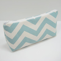 Blue Chevron Pouch, Cosmetic Bag, Curvy Accessory Pouch, Zippered Pouch, Pencil Case, Robin Egg Blue