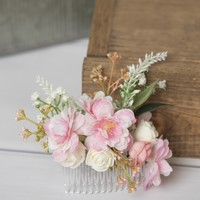 Pink hair comb, cherry blossom flower hair comb - bridal hair comb