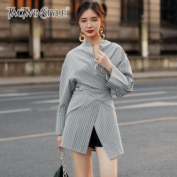 TWOTWINSTYLE Striped Long Shirt For Women Stand Collar Patchwork Tunic High Waist Irregular Blouse Female Spring Fashion Vintage