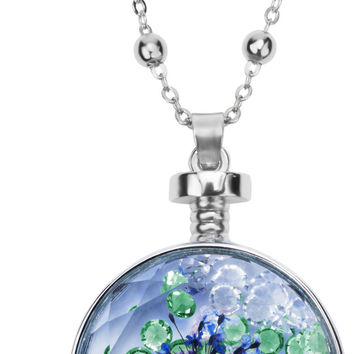 """Blissful Blue - 31"""" - 34.5"""" Sweater Necklace with Glass Pendant"""