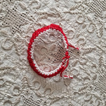 Crochet March bracelet, traditional March bracelet, Greek folklore March bracelet, unisex, boho March cuff, crochet red white bracelet