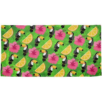 Tropical Vacation Tucan Pattern All Over Beach Towel
