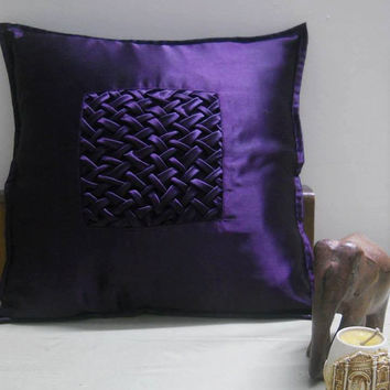Decorative Throw Pillow cover in Violet Satin with Lattice Work Accent Pillows of Size 16 x 16 Pillow Cover Cushion Cover Home Décor