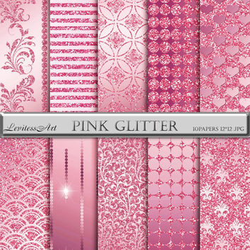 "Pink and glitter digital Paper ""Pink glitter"" digital background for scrapbooking, invites, cards,web design,jewelry making.Instant Download"